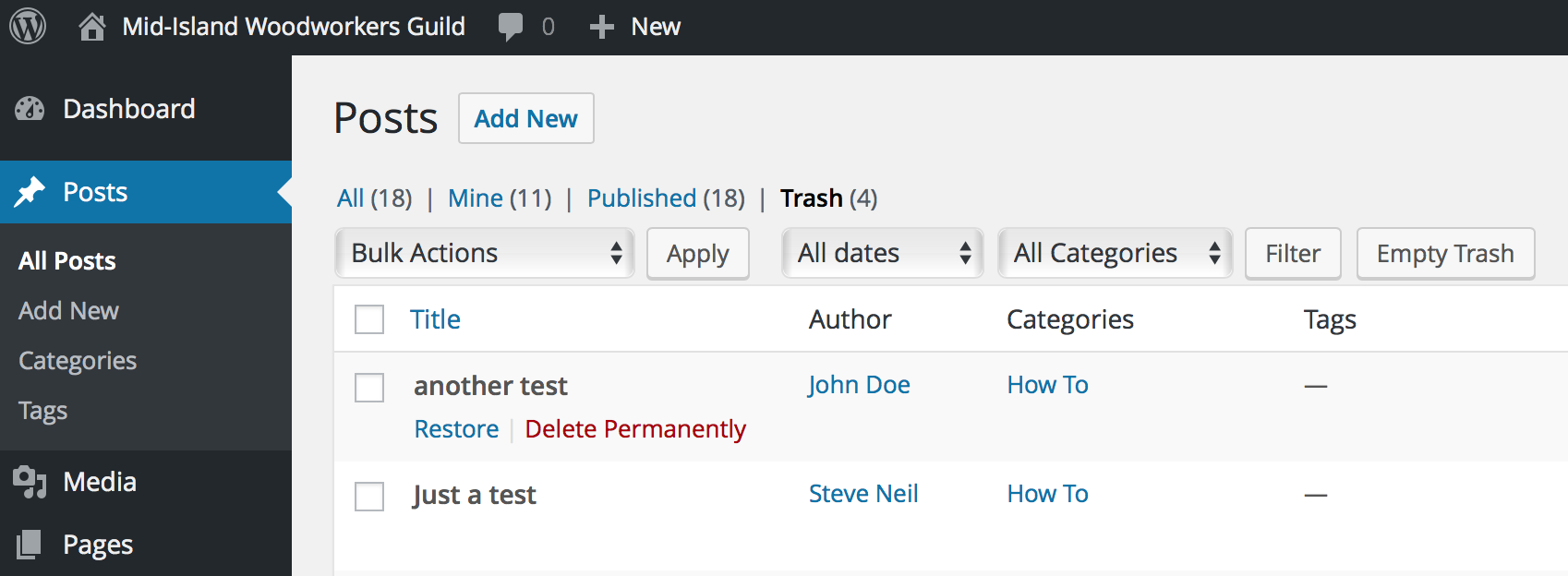 How to restore a deleted blog post